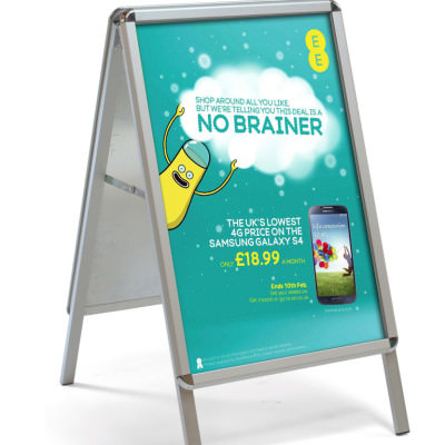 A-Board Pavement Sign with Chrome Effect Corners - EE Poster