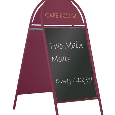 Café Rouge - Round Topped A-Board Chalk Panel